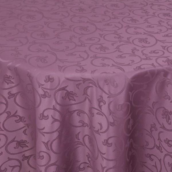 Tischdecken Damast Oval mit Saum Barock Lila
