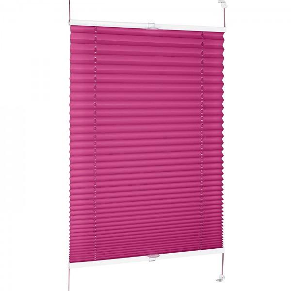 Plissee Rollo ohne Bohren Sonnenschutz Jalousie in Pink