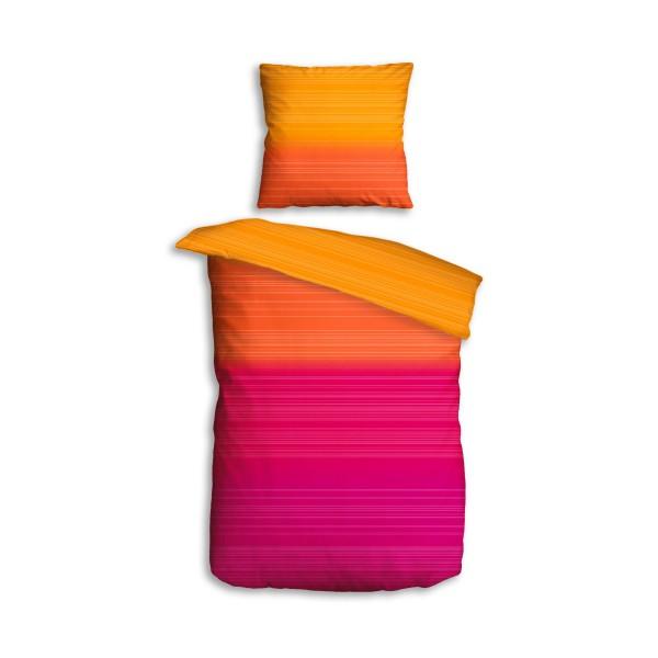 Bettwäsche 2tlg. 135x200 Softtouch Rainbow Rot Pink