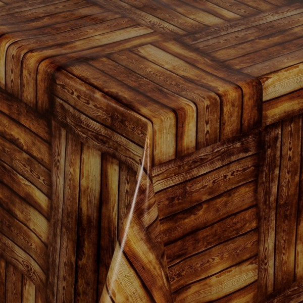 Tischdecke Abwaschbar Wachstuch Holz Motiv Braun im Wunschmaß