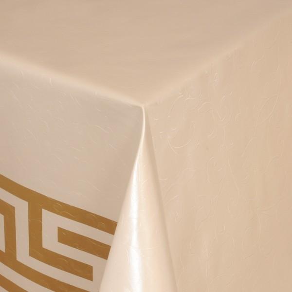 Tischdecke Abwaschbar Wachstuch Griechische Bordüre Beige im Wunschmaß