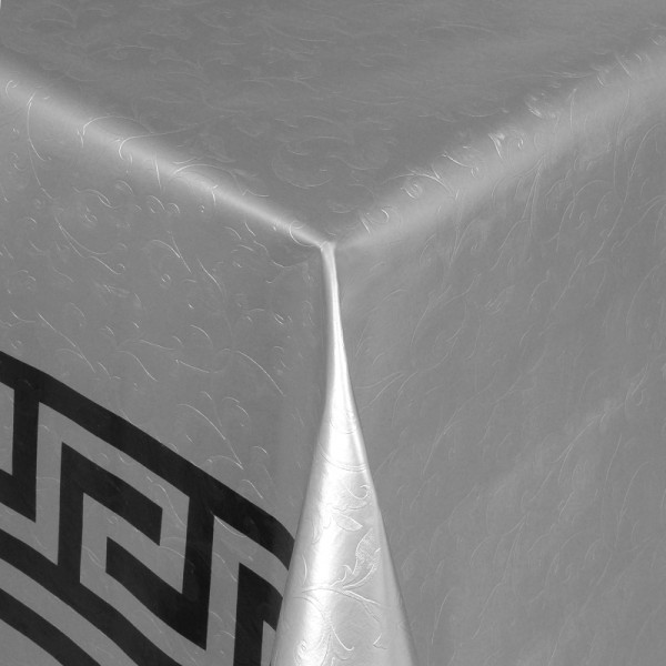 Tischdecke Abwaschbar Wachstuch Griechische Bordüre Grau im Wunschmaß