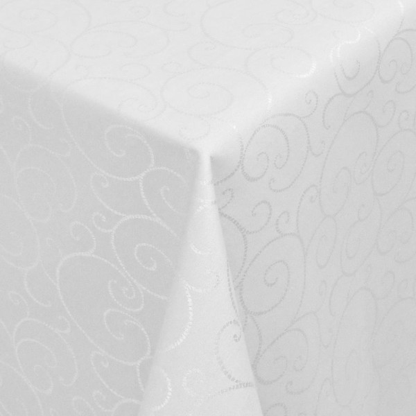 Tischdecken Jacquard-Gewebe mit Fleckschutz und Saum Marbella in Weiss