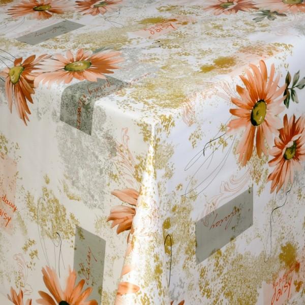Tischdecke Abwaschbar Wachstuch Blumen Motiv Apricot Weiss im Wunschmaß