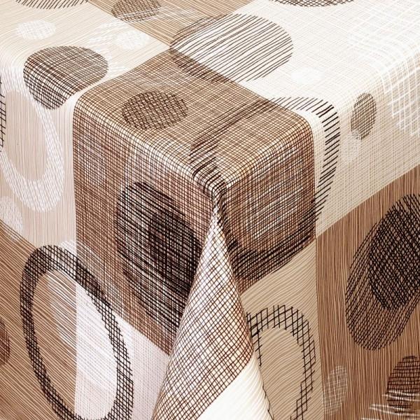 Tischdecke Abwaschbar Wachstuch Kreise Motiv Beige Braun im Wunschmaß