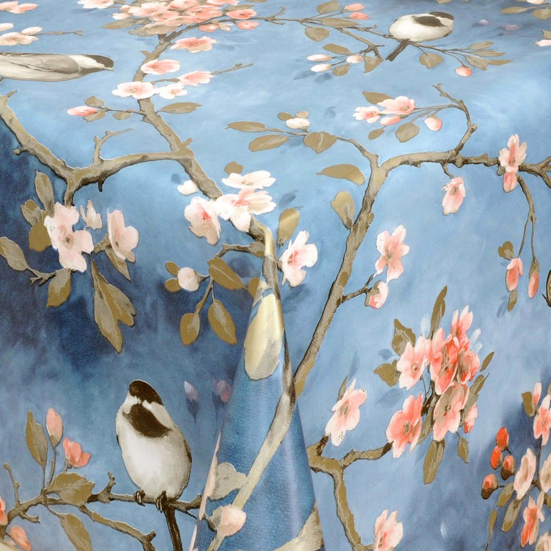Tischdecke Abwaschbar Wachstuch Vogel Motiv Blau im Wunschmaß