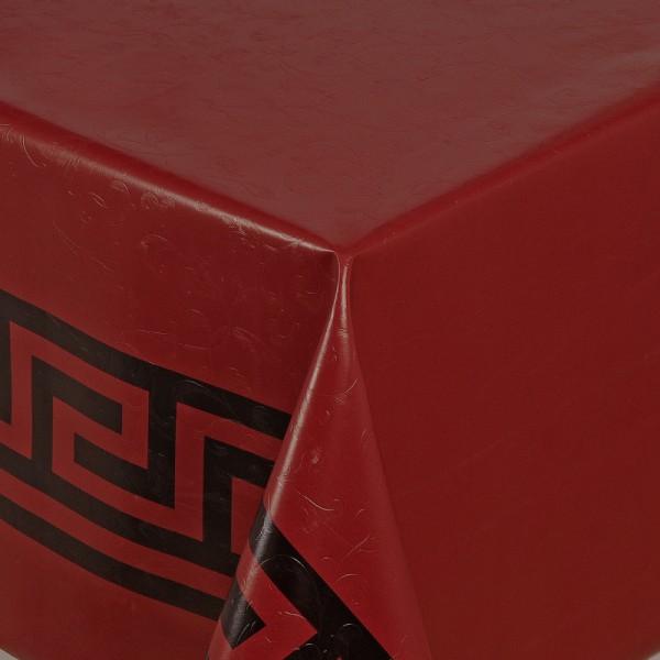 Tischdecke Abwaschbar Wachstuch Griechische Bordüre Rot im Wunschmaß