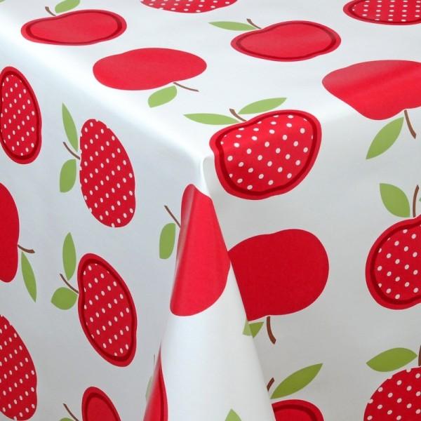 Tischdecke Abwaschbar Wachstuch Äpfel Motiv Rot Weiss im Wunschmaß