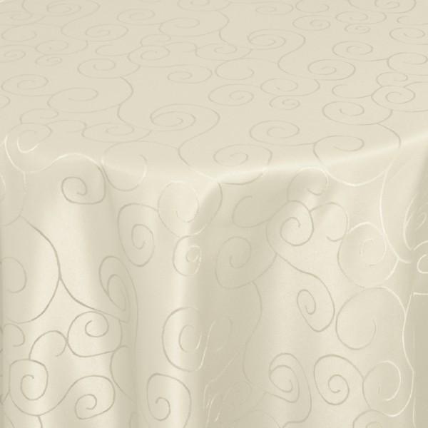 Tischdecken Damast Rund mit Saum Ornamente Creme-Champagner