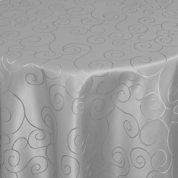 Tischdecken Damast Oval mit Saum Ornamente Grau