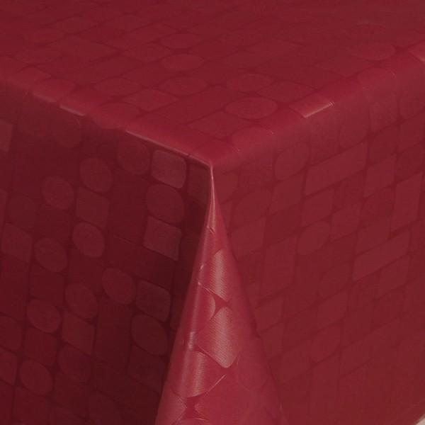 Tischdecke Abwaschbar Wachstuch Relief Karos Kreise Rot im Wunschmaß