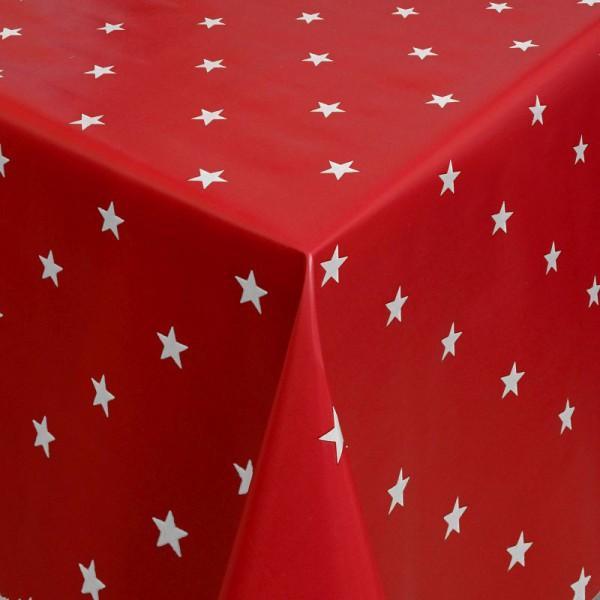 Tischdecke Abwaschbar Wachstuch Weihnachten mit Sternen Rot-Weiss
