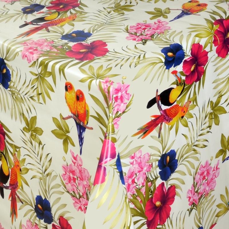 tischdecke abwaschbar wachstuch exotische v gel motiv im wunschma. Black Bedroom Furniture Sets. Home Design Ideas