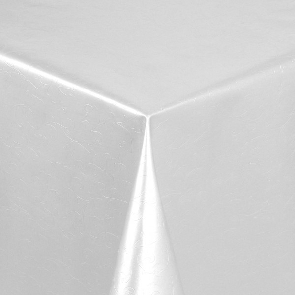 Tischdecke Abwaschbar Wachstuch Relief Blumenkelche Weiss im Wunschmaß