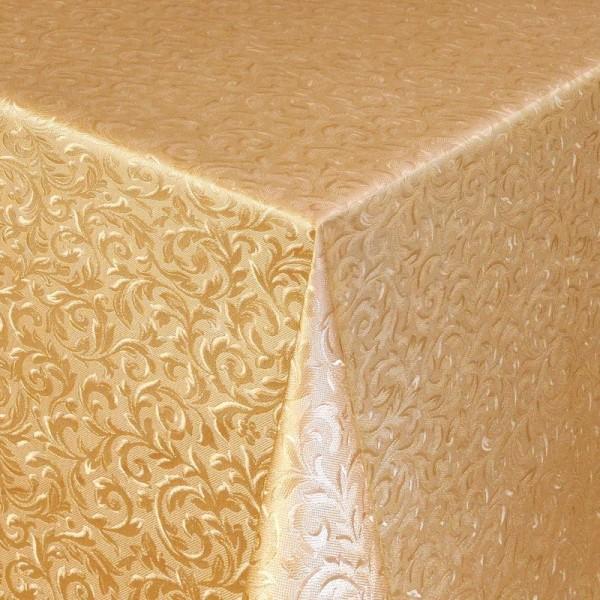 Tischdecke Abwaschbar Wachstuch Relief Ornamente Gold im Wunschmaß
