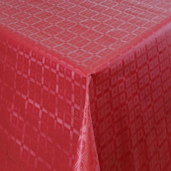 Tischdecke Abwaschbar Wachstuch Relief Quadrato Rot im Wunschmaß