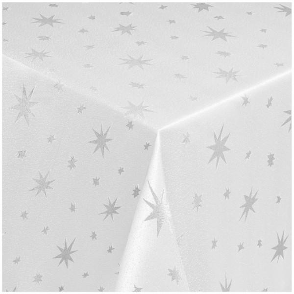 Tischdecken Lurex Sterne Weihnachtstischdecke Weiss-Silber