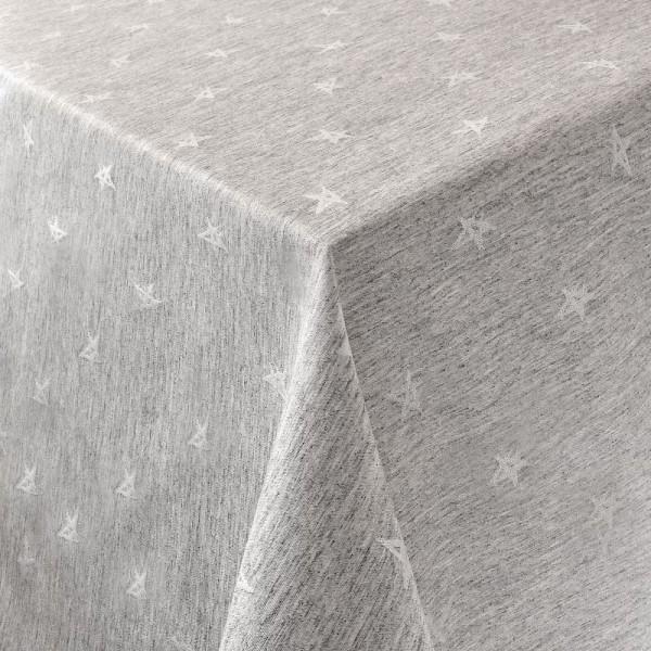 Tischdecken Jacquard-Gewebe mit Glanzeffekt und Fleckschutz Lurex Sterne in Grau