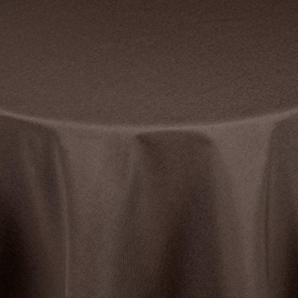 Tischdecken Damast Rund mit Saum Leinen-Optik Dunkel-Braun