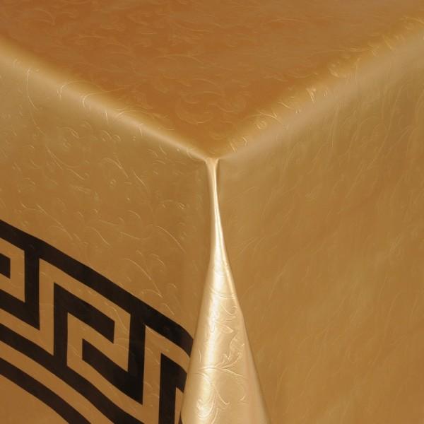 Tischdecke Abwaschbar Wachstuch Griechische Bordüre Gold im Wunschmaß