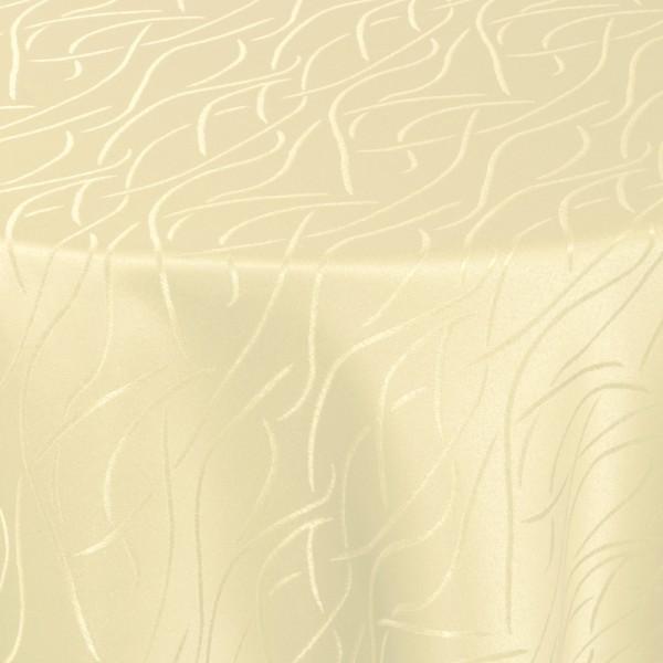 Tischdecken Damast Oval mit Saum Streifen Creme-Beige