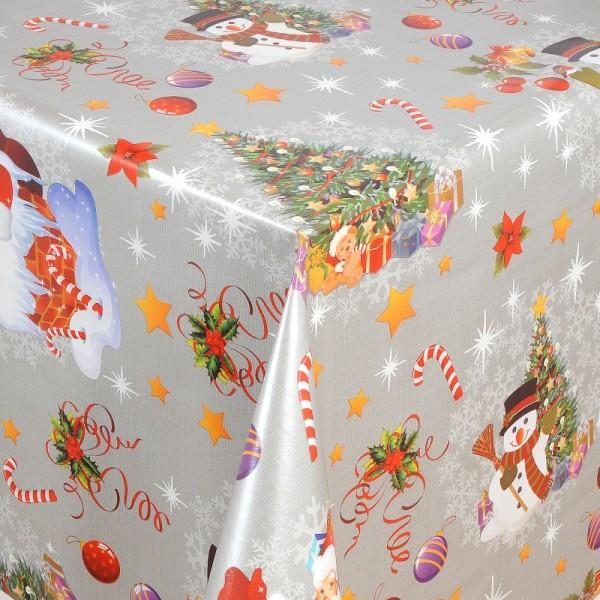 Tischdecke Abwaschbar Wachstuch Weihnacht Zuckerstange Grau Wunschmaß