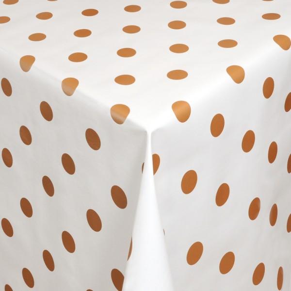 Tischdecke Abwaschbar Wachstuch Punkte Motiv Weiss Bronze im Wunschmaß