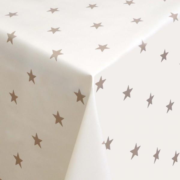 Tischdecke Abwaschbar Wachstuch Weihnachten mit Sternen Creme