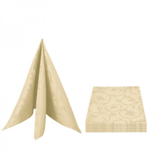 Servietten Damast Barock 50x50 Creme-Beige (6er Pack)