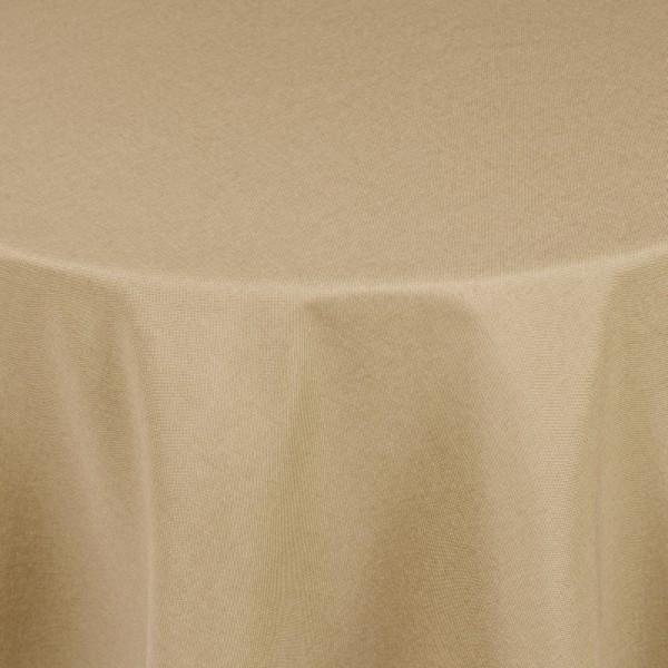Tischdecken Damast Oval mit Saum Leinen-Optik Sand-Braun