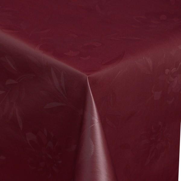 Tischdecke Abwaschbar Wachstuch Relief Blumen Rot im Wunschmaß
