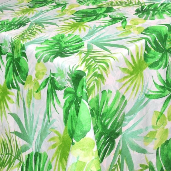 Tischdecken Barleta Jaquard-Gewebe in Weiss-Grün mit Fleckschutz