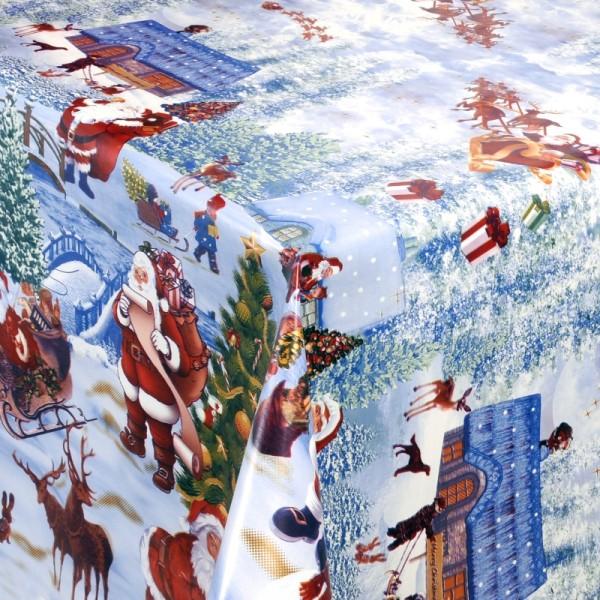 Tischdecke Abwaschbar Wachstuch Weihnachtsdorf in Blau Wunschmaß