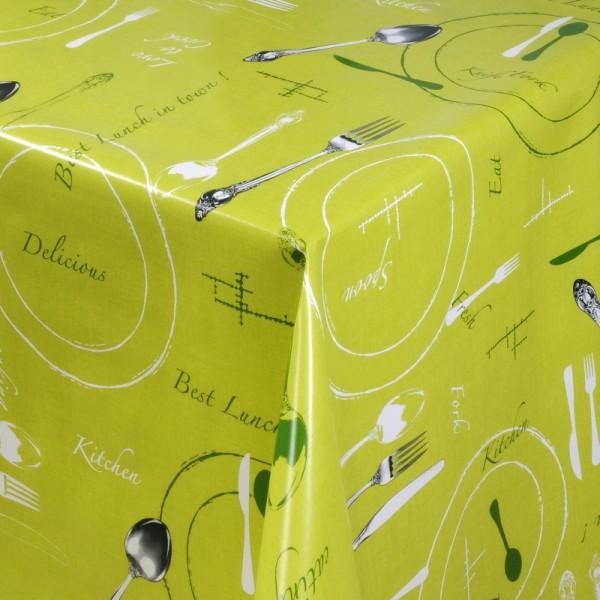 Tischdecke Abwaschbar Wachstuch Lunch Motiv Grün im Wunschmaß