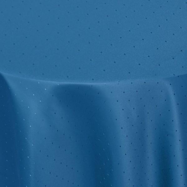 Tischdecken Damast Oval mit Saum Punkte Dunkel-Blau