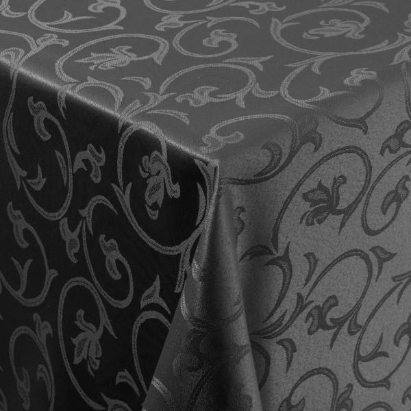 Tischdecken Damast Eckig mit Saum Barock Schwarz