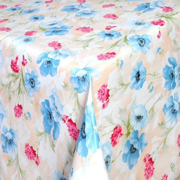 Tischdecke Abwaschbar Wachstuch Blumen Motiv Grün Rot im Wunschmaß