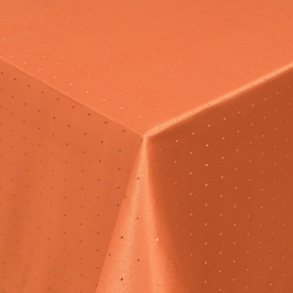 Tischdecken Damast Eckig mit Saum Punkte Orange