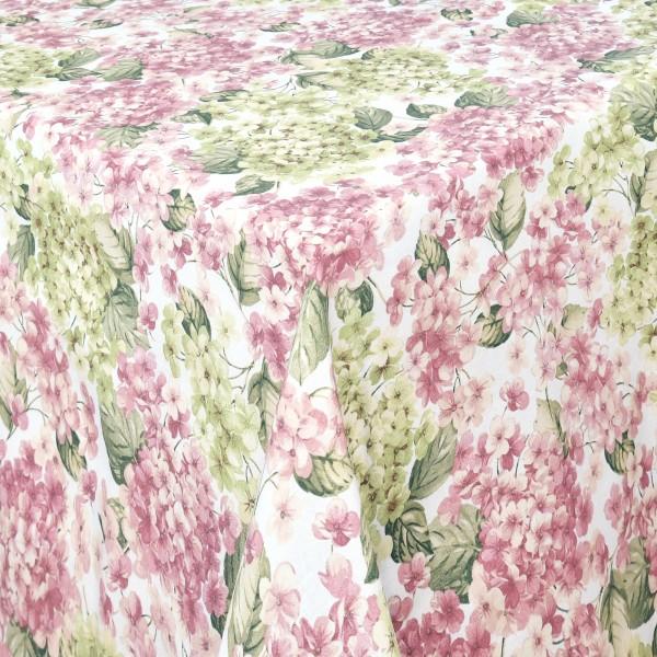 Tischdecken Cosenza Baumwolle Hortensie Motiv mit Fleckschutz Weiss