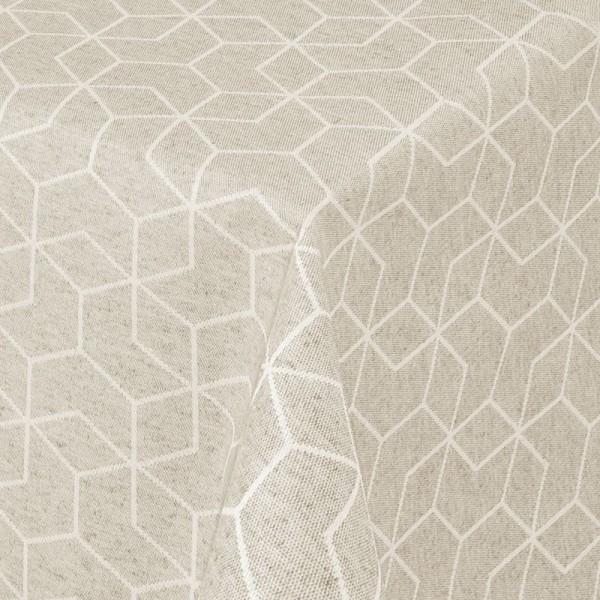Tischdecken Jacquard-Gewebe mit Fleckschutz und Saum Lorca in Creme