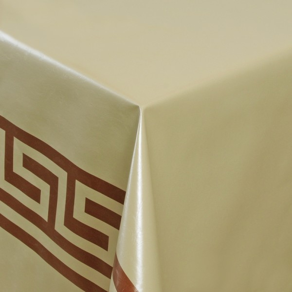 Tischdecke Abwaschbar Wachstuch Griechische Bordüre Creme Gold Wunschmaß