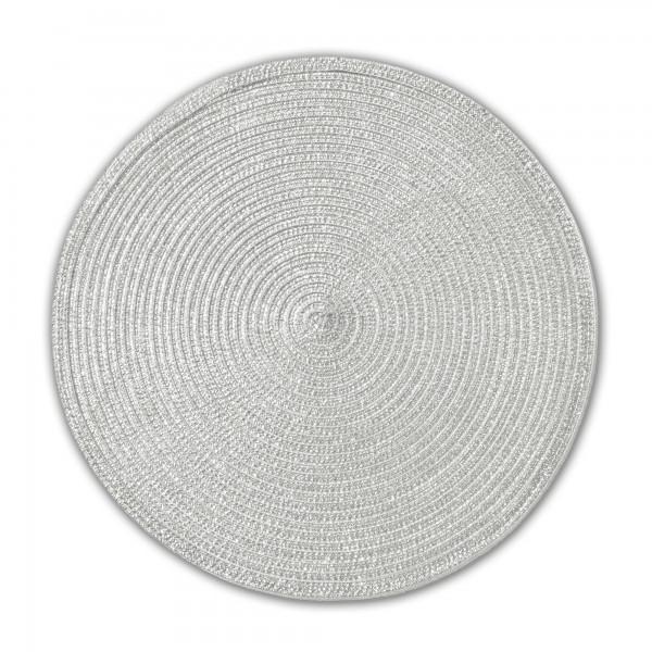 Tischsets 6er-Set Platzsets 38 cm Rund mit Glanzeffekt in Silber