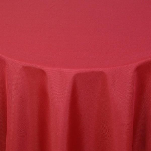 Tischdecken Damast Rund mit Saum Uni Wein-Rot