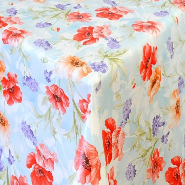 Tischdecke Abwaschbar Wachstuch Blumen Motiv Rot Orange im Wunschmaß