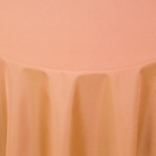 Tischdecken Damast Rund mit Saum Uni Apricot
