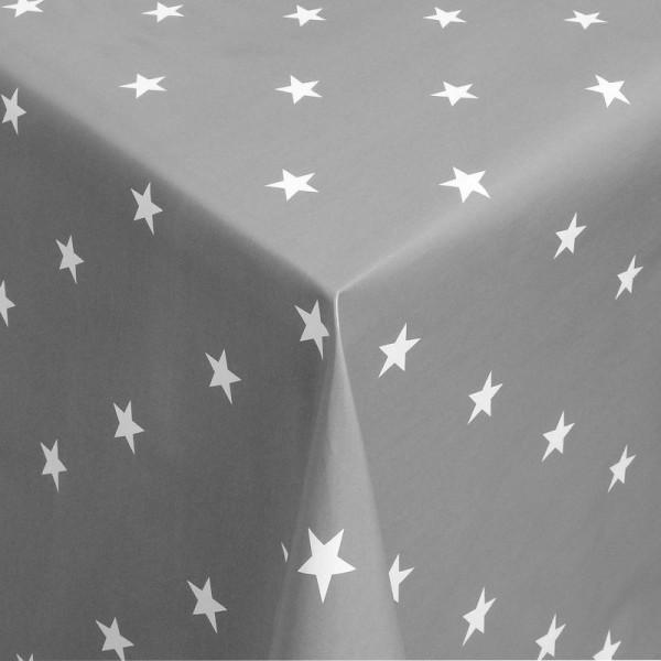 Tischdecke Abwaschbar Wachstuch Weihnachten mit Sternen Grau-Weiss