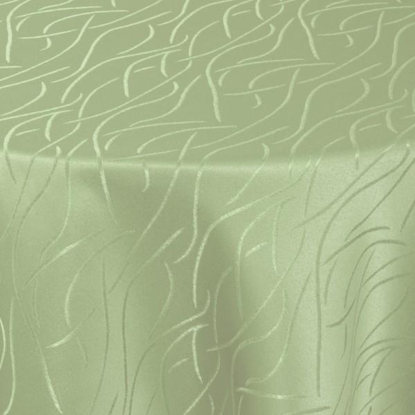 Tischdecken Damast Oval mit Saum Streifen Lind-Grün