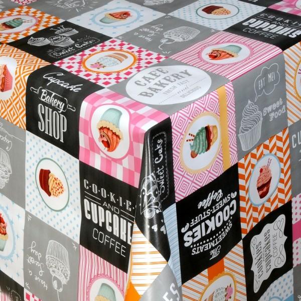 Tischdecke Abwaschbar Wachstuch Cookies Motiv Rosa Grau im Wunschmaß