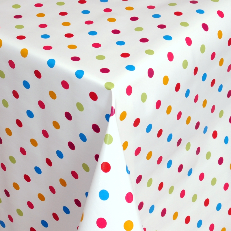 tischdecke abwaschbar wachstuch kunterbunte punkte im wunschma. Black Bedroom Furniture Sets. Home Design Ideas