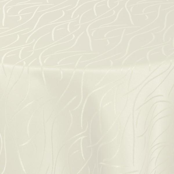 Tischdecken Damast Oval mit Saum Streifen Creme-Champagner